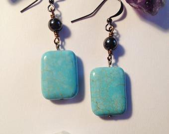 Blue Howlite Drop Earrings