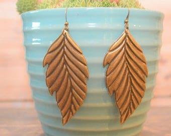 Antique Bronze Earrings, Filigree Earrings, Leaf Earrings,  Boho Earrings, Bronze Leaf Earrings, Lightweight Metal Earrings, Metal Earrings