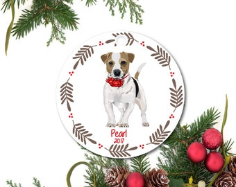 Jack Russell Terrier Ornament, Pet Ornament, Personalized Christmas Ornament, Terrier Gift, Custom Dog Ornament, Ceramic Ornament, Pet Gift