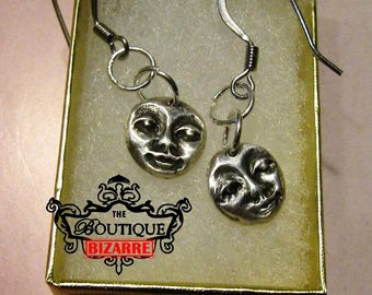Moon Face, Mask, head, simple, moon man, Fine Silver, .999 Pure Silver Earring Dangles, PMC, Precious Metal Clay Jewelry, Hypoallergenic