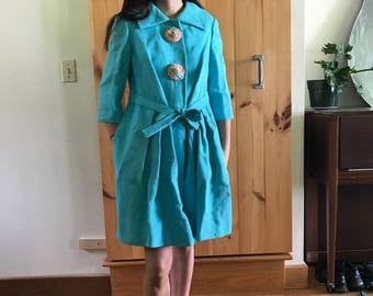 Vintage Aqua Via Veneto Three Quarter Length Coat with Unique Floral Buttons