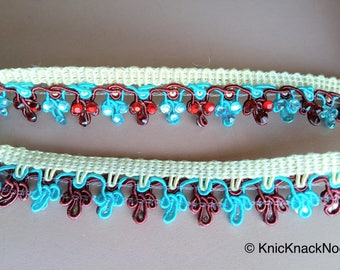 Blue, Red And Beige Thread Embroidered Lace Trim With Flatback Beads, 21mm wide - 200317L348