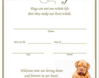 Birth certificate etsy puppy birth certificate yadclub Gallery