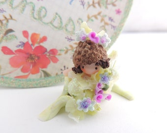 Mini Baby in Pea Pod boat with real tiny Acorn hat Fairy Wee Ones Miniature Doll Figurine
