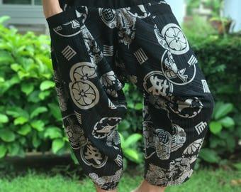HC0072 Elastic Waist Samurai Pants Unisex Elastic Waist , ninja pants