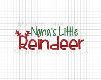 Nana's Little Reindeer SVG - Reindeer Antlers - Rudolph Nose - Cutting File - Cute Font - Cricut - Cameo