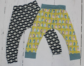 2T Harem Pants, Baby and Kids Harem Pant Leggings, Tomahawk, Owls