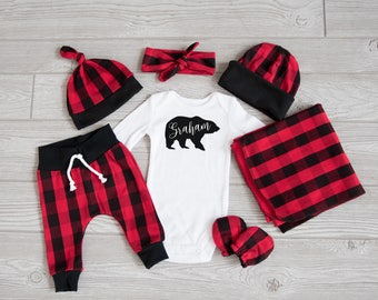 Baby Boy Coming Home Outfit, Christmas: CHOOSE YOUR COMBO Personalized Bear Bodysuit, Buffalo Plaid Harem Pants, Slouchy Hat, Swaddle, Mitts