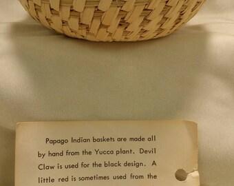 Vintage Basket, Papago Indian Basket, Tohono Oodham, Indian Basket, Papago Basket, Estate Basket,