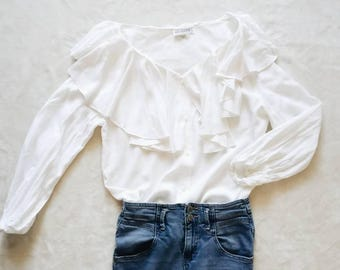 Vintage white blouse | vintage white ruffle collar loose fit button up blouse