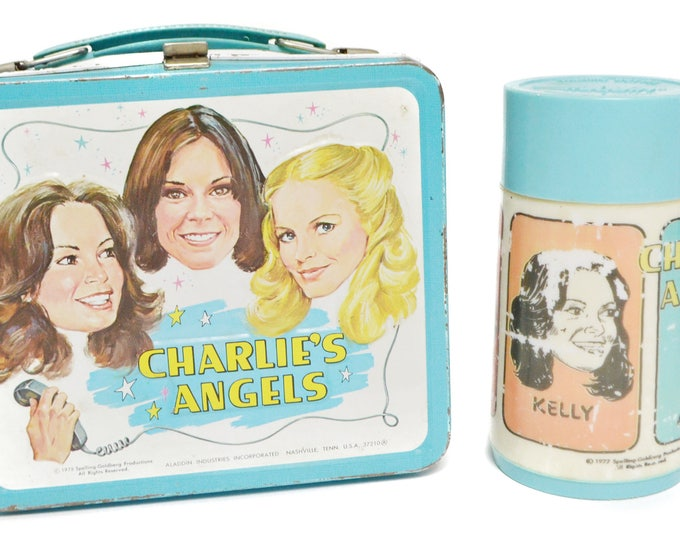 Vintage 70s Charlie's Angels Metal Lunchbox with Thermos