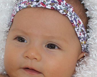 Baby Headband / Pink Floral Baby Headband / Newborn Baby Shower Gift / Knotted Headband / Infant Turban / Floral Baby Bow / Gifts for Baby