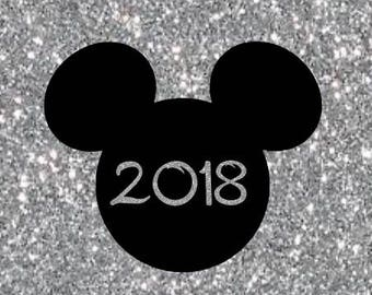 DIY 2018 Mickey Head New Years Eve Solid Iron On Decal Custom Color Baby Boys Girls Men Women Adult