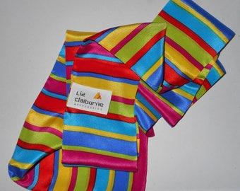 "Vintage hair scarf neck accessory SILK Japan LIZ by Liz Claiborne Immaculate 46"" x 3"" bright multi color"