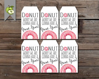 donut gift tag, back to school tag, new class tag, donut favor, Teacher Appreciation, Gift Tag, Teacher Gift Tag, teacher printable, tag
