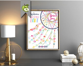 fingerprint dream catcher, baby shower, guest book, guestbook, welcome baby, new baby Printable, Thumbprint, pregnancy, custom, nursery art
