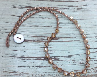 Necklace/Crochet Choker Necklace/Beaded Crochet Necklace/Beaded Necklace/Bohemian Necklace/NimbleKnots Jewelry