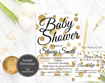 Gender Neutral Baby Shower Invitation Template, White and Gold Baby Shower Invite Printable, Polka Dots Invitation, Gold Glitter, Digital
