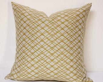 Net Citrus Gold  mid-century pattern pillow cover, Beige and Gold pillow cover, yellow gold pillow cover, gold pillow cover