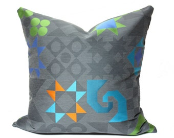 Maharam Tangram pillow cover, Quilt pattern pillow cover, modern pillow cover, Gray pillow cover