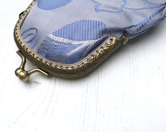 Silky lilac purse with antique gold metal clasp handsewn gold clasp purse wallet handmade by The Emperor's Old Clothes