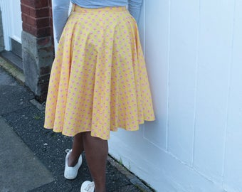 Sunshine yellow provincial cotton with red detail size 10-12 high waisted skirt handmade by The Emperor's Old Clothes