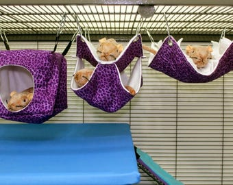 3 piece set SMALL rat hammocks cube fringe double ferret hammock chinchilla hammock pet hammock