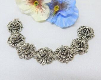 Vintage silver tone rose flower link bracelet with box clasp