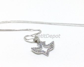 Holy Spirit Necklace Sterling Silver Holy Spirit CZ Charm Bird Dove Pendant Silver Diamond Cubic Zirconia