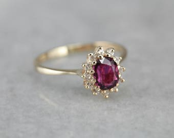 Timeless Ruby Ring, Halo Engagement Ring, Anniversary Ring TZEK6HHJ-R