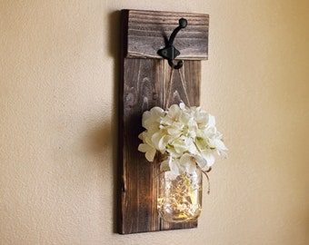 Delightful Rustic Wall Decor, Mason Jar Wall Sconce, Lighted Sconce, Wall Hangings,  Wall Part 29