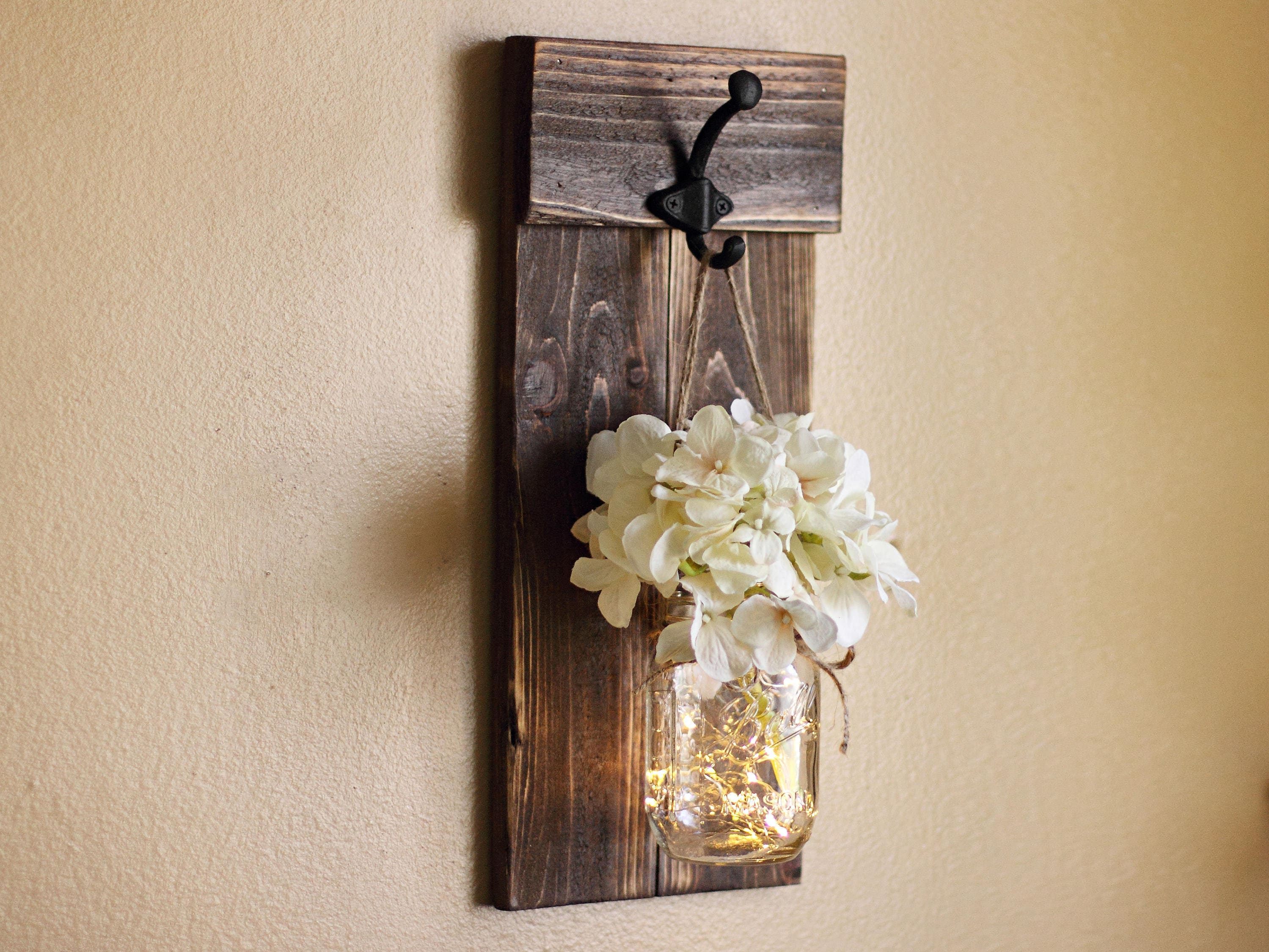 Rustic Wall Decor Mason Jar Wall Sconce Lighted Sconce Wall