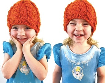 PATTERN: Chunky Cable Pumpkin Hat Knitting Pattern, All Sizes Autumn Hat Pattern, Chunky Halloween Hat, Cable Knit Pumpkin Hat, Pumpkin Cap