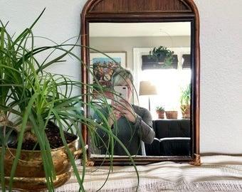 Vintage Bamboo Framed Mirror / Bohemian Wall Hanging Mirror