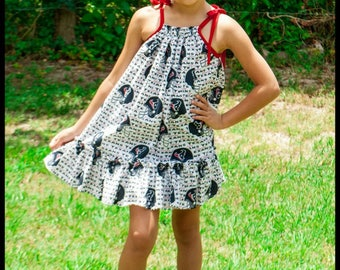 Football Dress; Football Team; Texans Fabric; Infants, Toddlers, Girls; Football Team Fabric