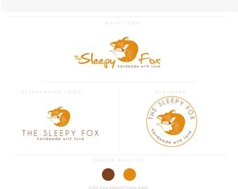 sleepy fox golden healthcare logo Douala Initials moms care wedding boutique feminine elegant fashion business cards banner