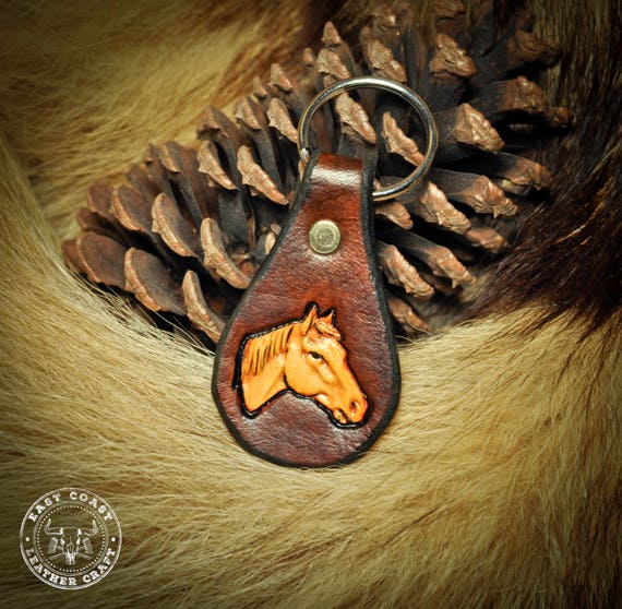 Leather Keychain Fob - Equestrian Horse