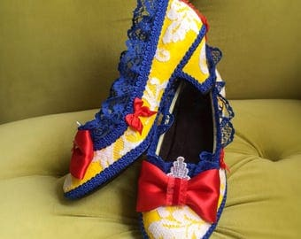 Snow White Costume Shoes Heels Cosplay Party Fantasy Pumps Yellow Royal Blue Apple Red Fairytale Disney Princess Style Wedding Lace Ruffle
