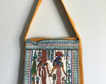 Vintage Egyptian Bag Purse Tote Mustard Yellow Cordoroy Carpet Bags of America Unique Fabric Shoulder Messenger Hieroglyphs Canvas Print Bag