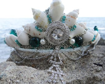 Mermaid Crown Teal Mystic Princess - Teal Mystic Princess Crown - Seashell tiara - mermaid wedding crown - crystal festival crown