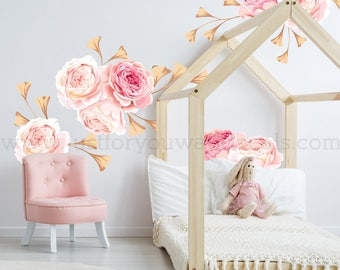 MINI FLOWER SET   Flower Wall Decal, Floral Wall Decal, Watercolor Wall  Decals,