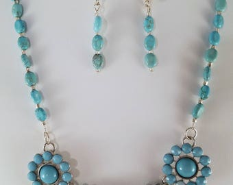 Turquoise Statement necklace and earring set