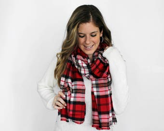 Blanket Scarf, Red Flannel Plaid, Fringe Scarves