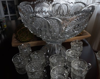 Vintage, EAPG Punch Bowl with Stand, 24 Cups, and Glass Ladle