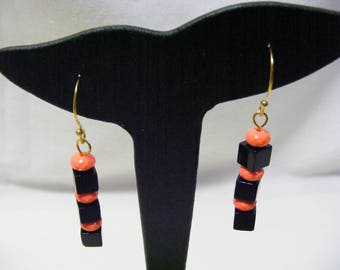 Orange and Black Cube Earrings