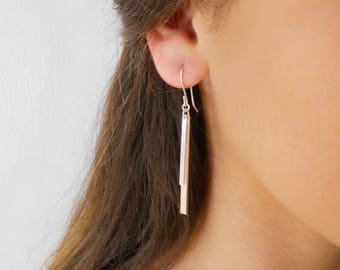 Long Silver Bar Earrings, Long Earrings, Silver Rectangle Earrings, Silver Bar Earrings, Long Silver Dangling Earrings, #740