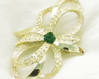 Vintage 80's Bow Pin with Green Stone