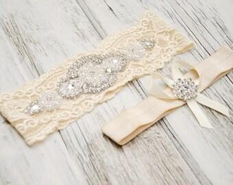 Ivory Garter Set   Wedding Garter   Vintage Style Garter   Bride Leg Band   Bridal Shower Gift