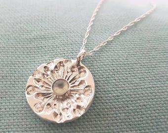 Dandelion and green amethyst necklace//solid silver pendant//semi precious stone