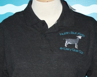 Livestock Polo - Custom Polo Shirt - Dairy Goat Polo Shirt - Personalized Polo Shirt - Ladies Fitted Polo Shirt - Custom Embroidered Polo